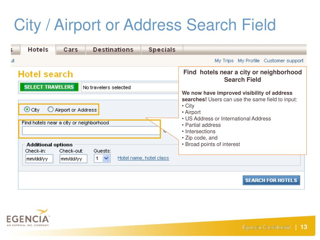 City / Airport or Address Search Field