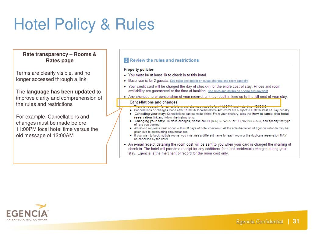 Hotel Policy & Rules