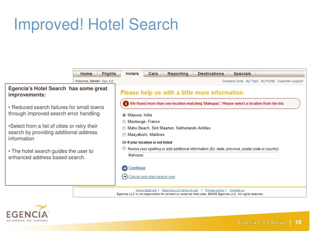 Improved! Hotel Search