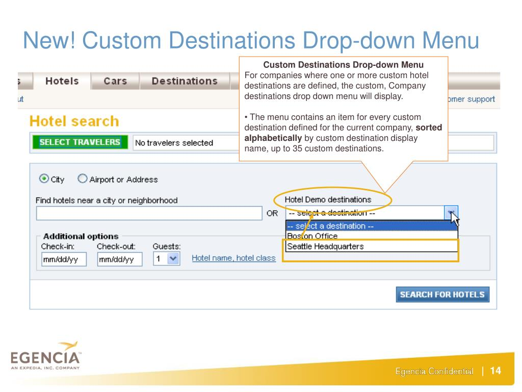 New! Custom Destinations Drop-down Menu