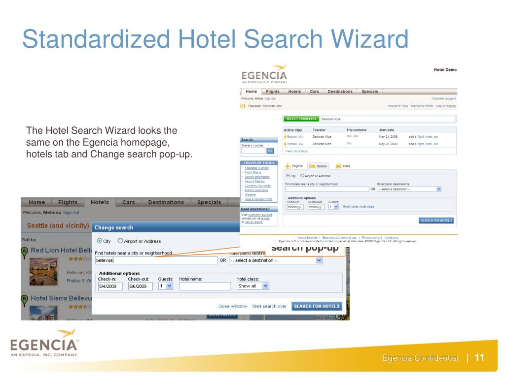 Standardized Hotel Search Wizard