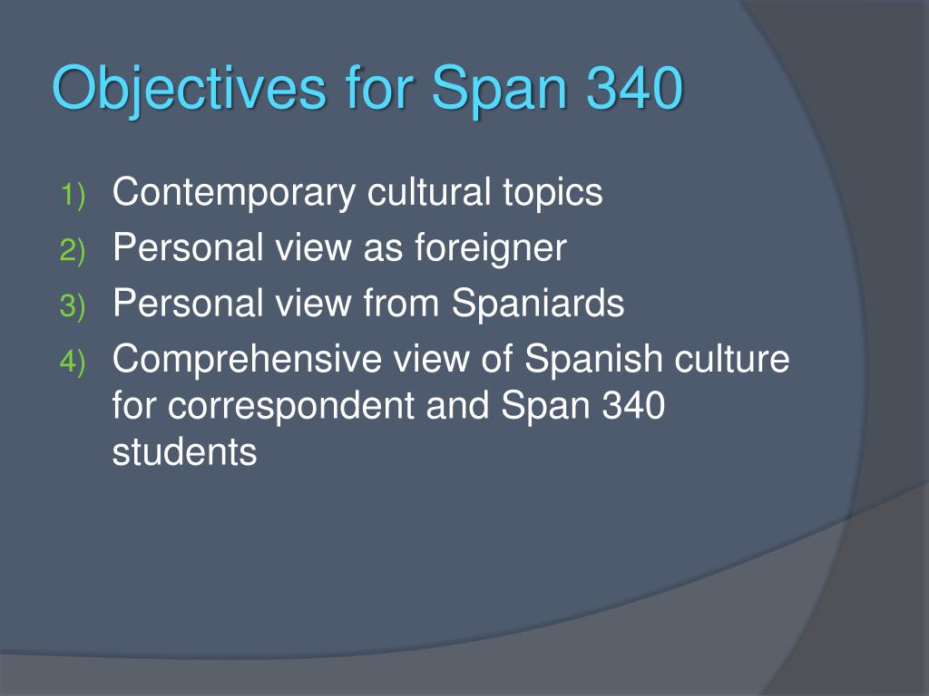 Objectives for Span 340