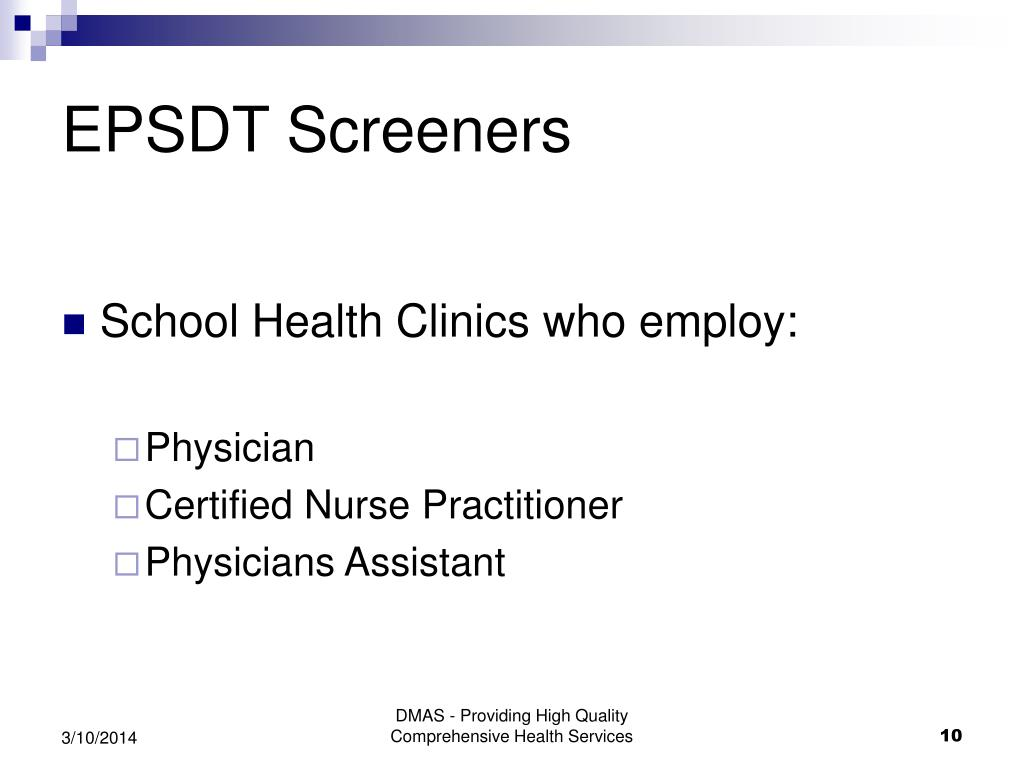 EPSDT Screeners
