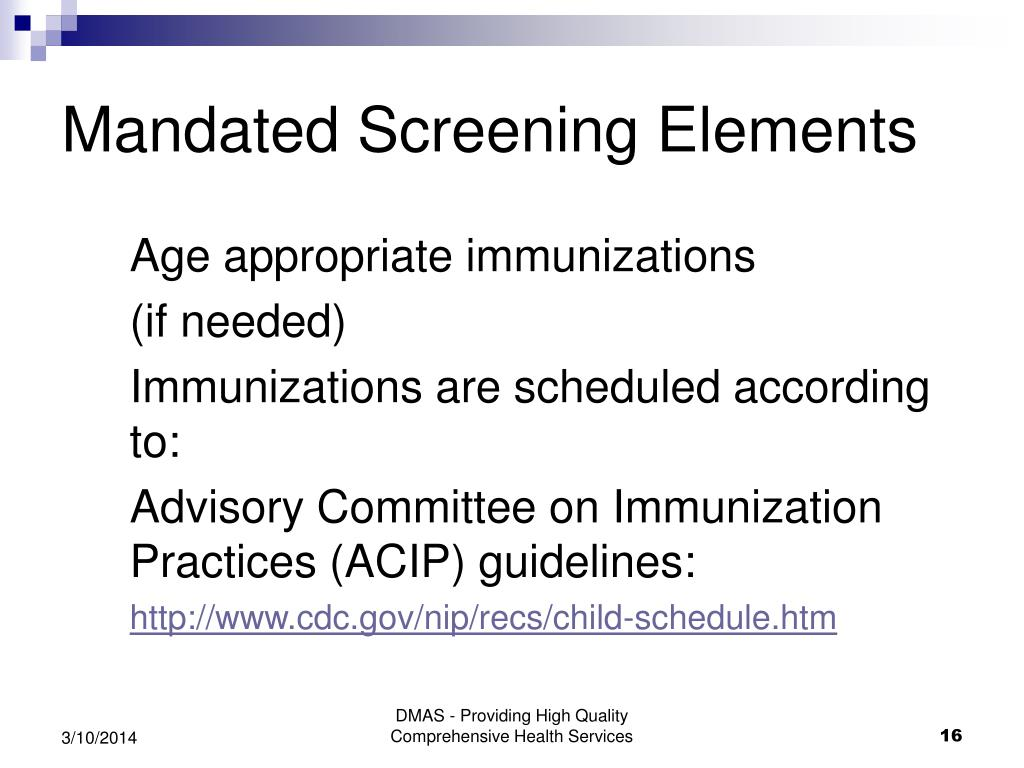 Mandated Screening Elements
