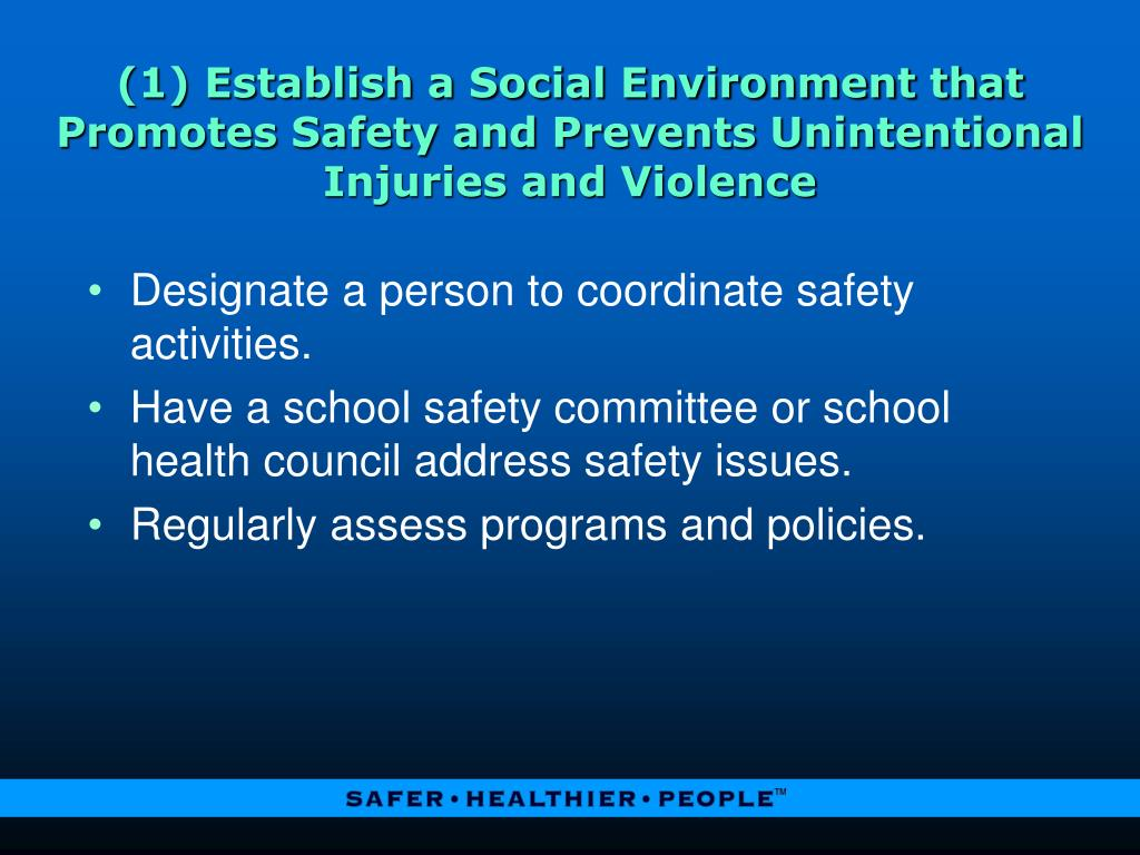 (1) Establish a Social Environment that Promotes Safety and Prevents Unintentional Injuries and Violence