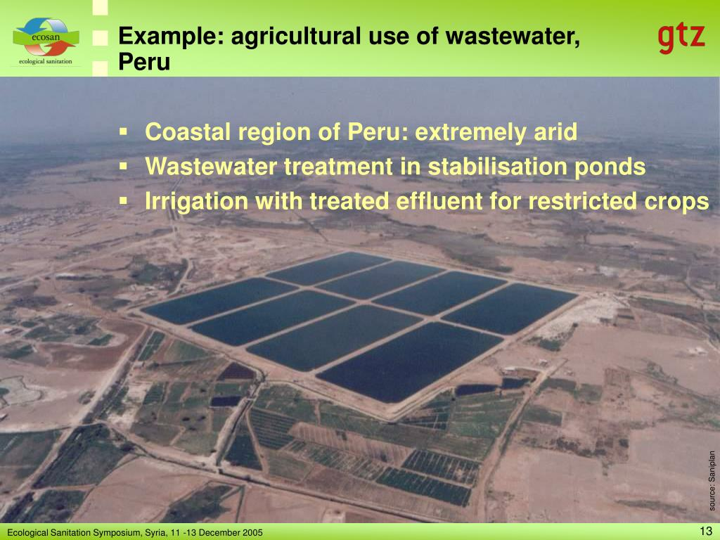 Example: agricultural use of wastewater, Peru