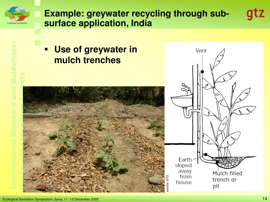 Example: greywater recycling through sub-surface application, India