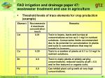 fao irrigation and drainage paper 47 wastewater treatment and use in agriculture28