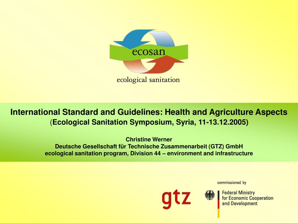 International Standard and Guidelines: Health and Agriculture Aspects