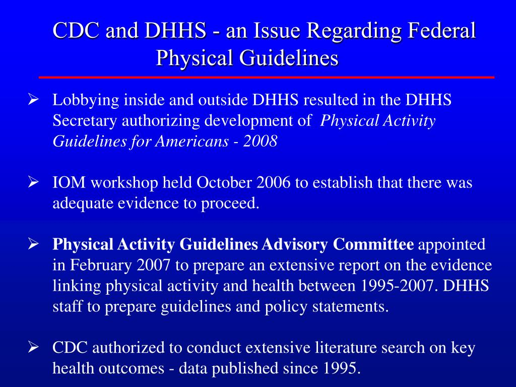CDC and DHHS - an Issue Regarding Federal Physical Guidelines