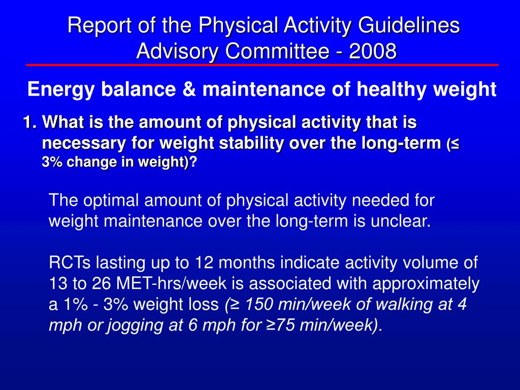 Report of the Physical Activity Guidelines