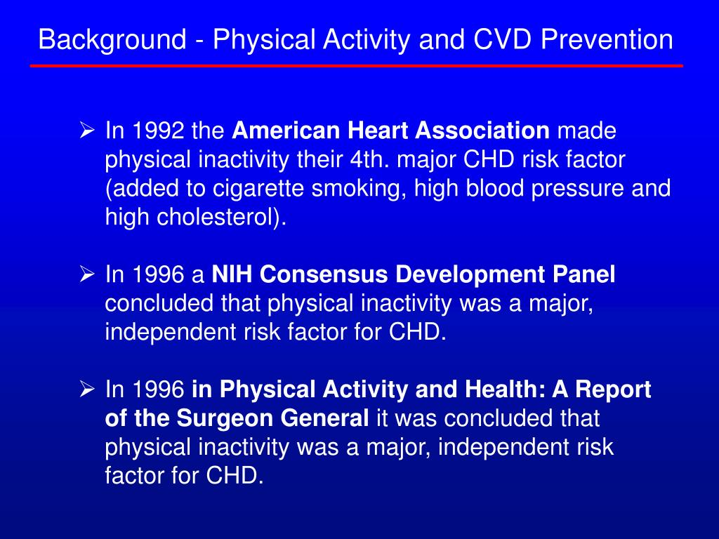 Background - Physical Activity and CVD Prevention