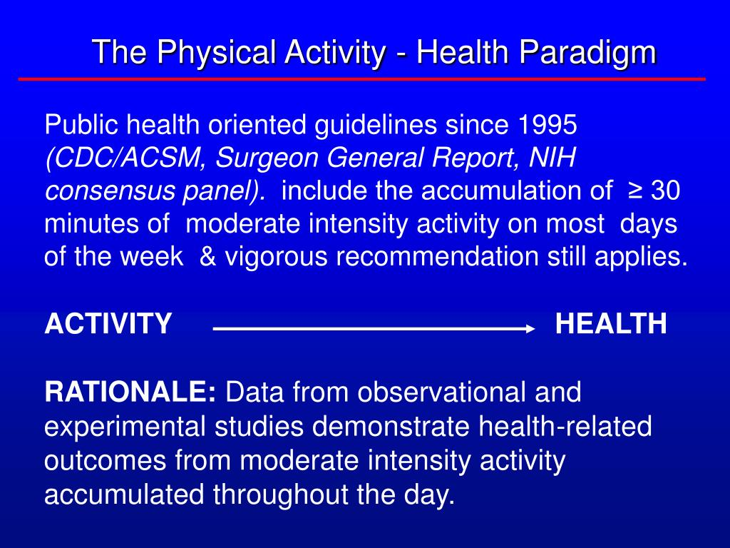 The Physical Activity - Health Paradigm