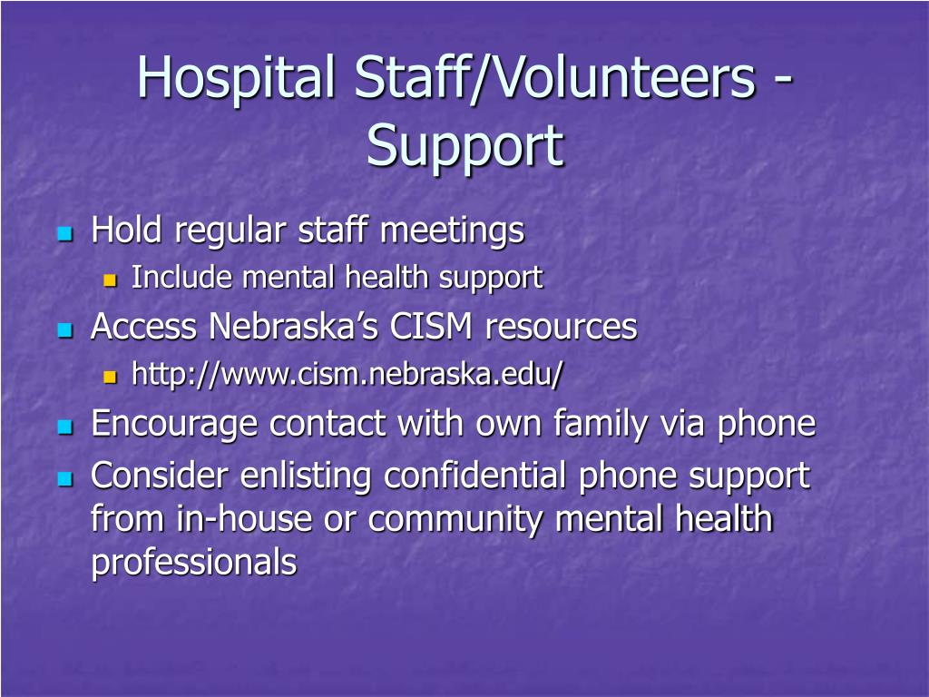 Hospital Staff/Volunteers - Support
