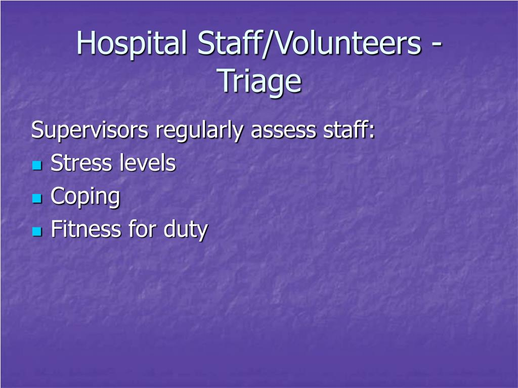 Hospital Staff/Volunteers - Triage