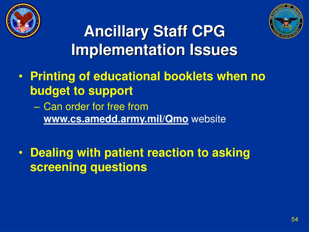Ancillary Staff CPG Implementation Issues