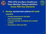 pdh cpg ancillary healthcare team member responsibilities know pdh key elements19
