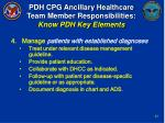 pdh cpg ancillary healthcare team member responsibilities know pdh key elements20