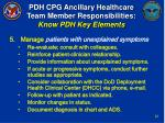 pdh cpg ancillary healthcare team member responsibilities know pdh key elements21