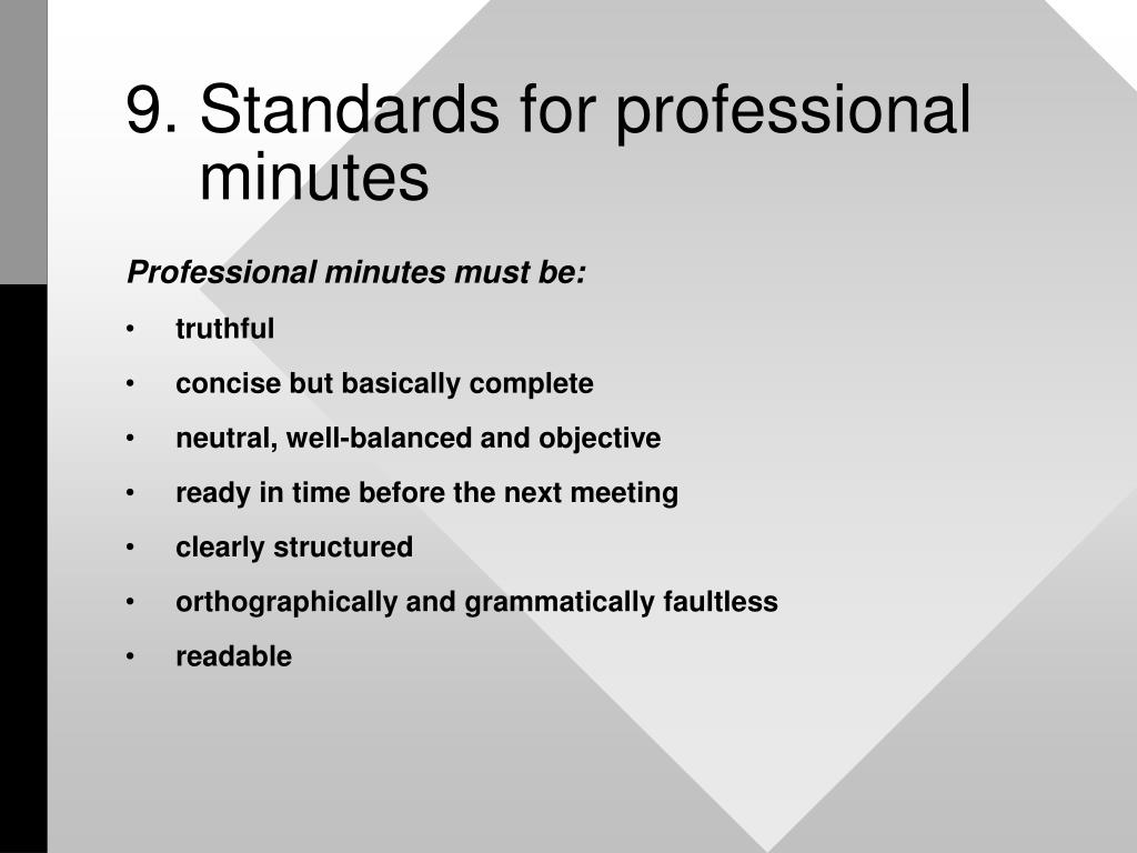 9. Standards for professional