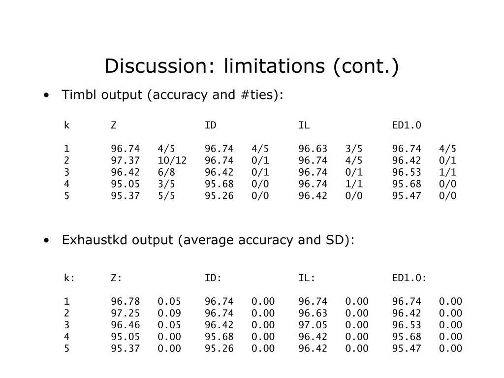 Discussion: limitations (cont.)