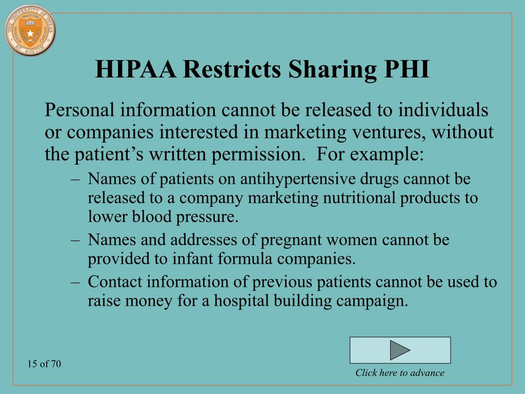 HIPAA Restricts Sharing PHI