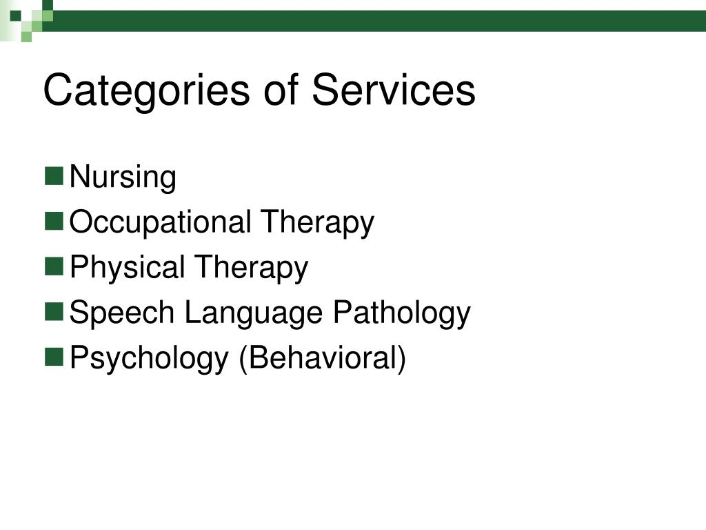 Categories of Services