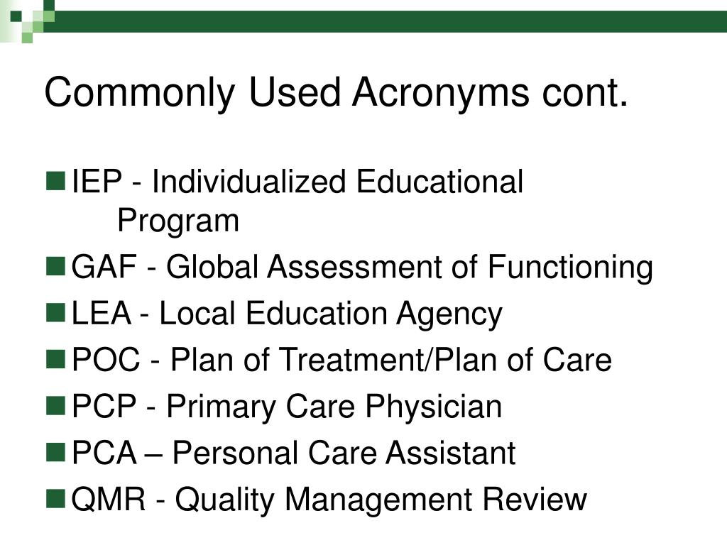 Commonly Used Acronyms cont.