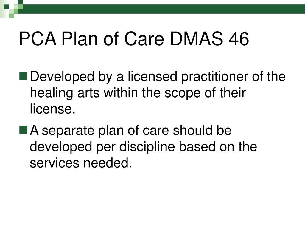 PCA Plan of Care DMAS 46