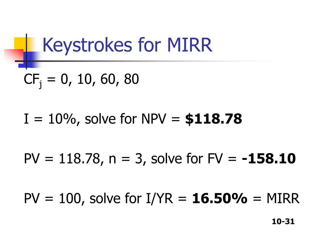 Keystrokes for MIRR
