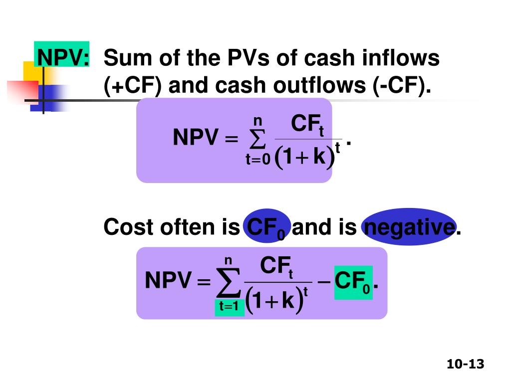 NPV:	Sum of the PVs of cash inflows (+CF) and cash outflows (-CF).