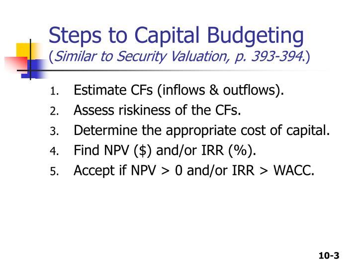 Steps to capital budgeting similar to security valuation p 393 394