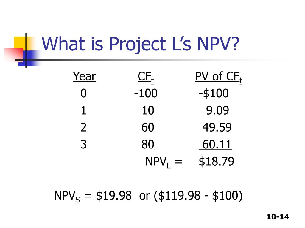 What is Project L's NPV?