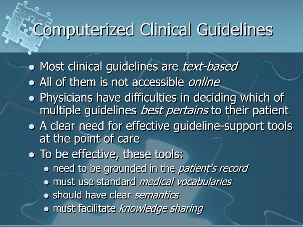 Computerized Clinical Guidelines