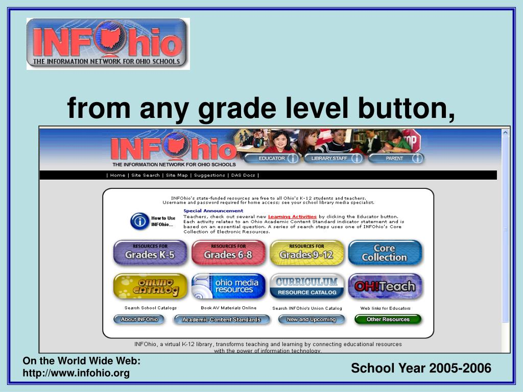 from any grade level button,