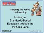 looking at standards based education through the infohio lens