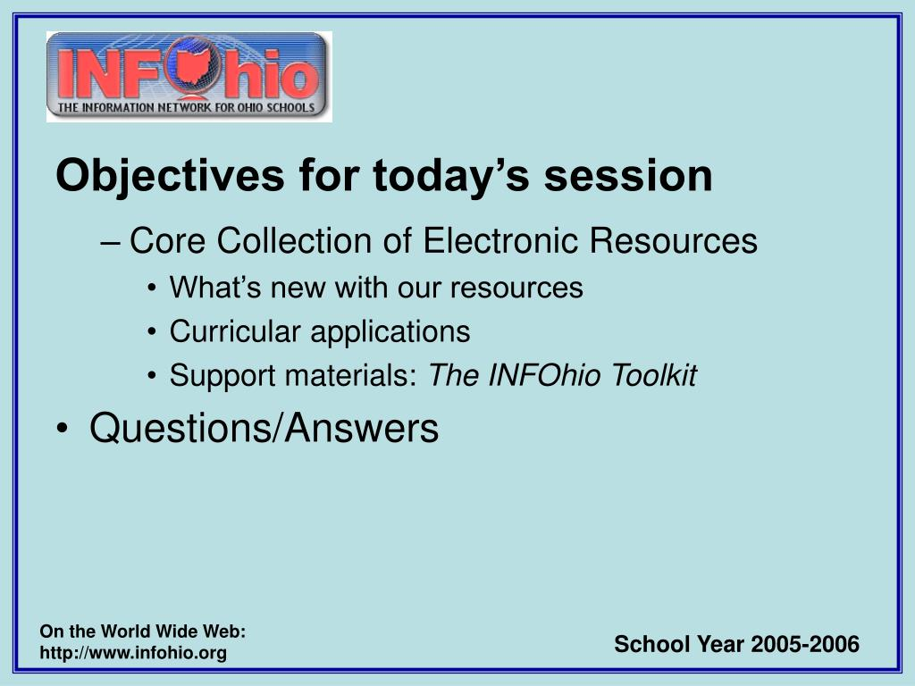 Objectives for today's session