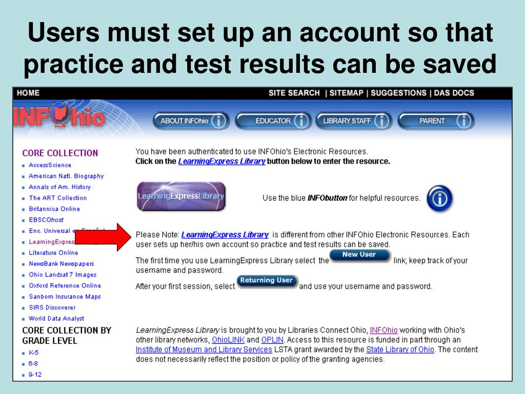 Users must set up an account so that practice and test results can be saved