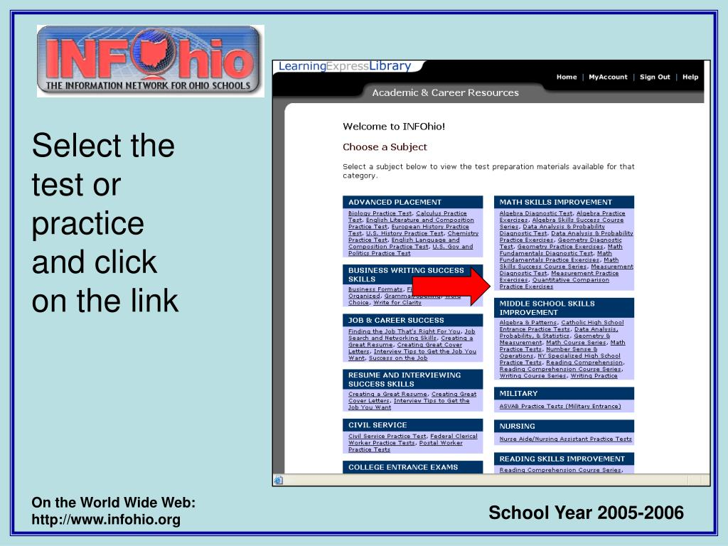 Select the test or practice and click on the link
