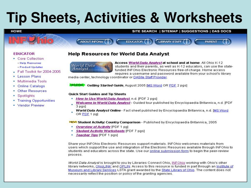 Tip Sheets, Activities & Worksheets