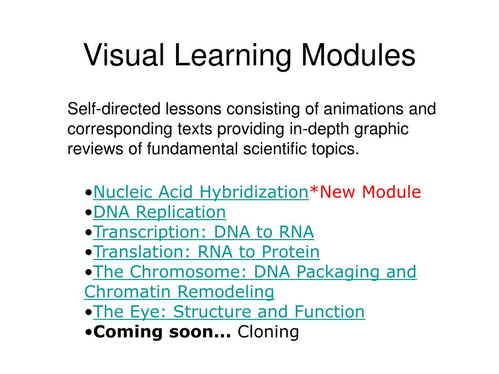 Visual Learning Modules
