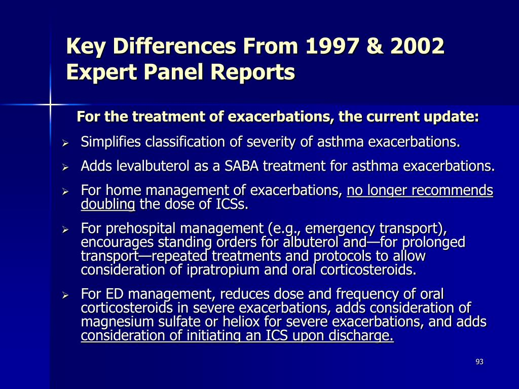 Key Differences From 1997 & 2002 Expert Panel Reports