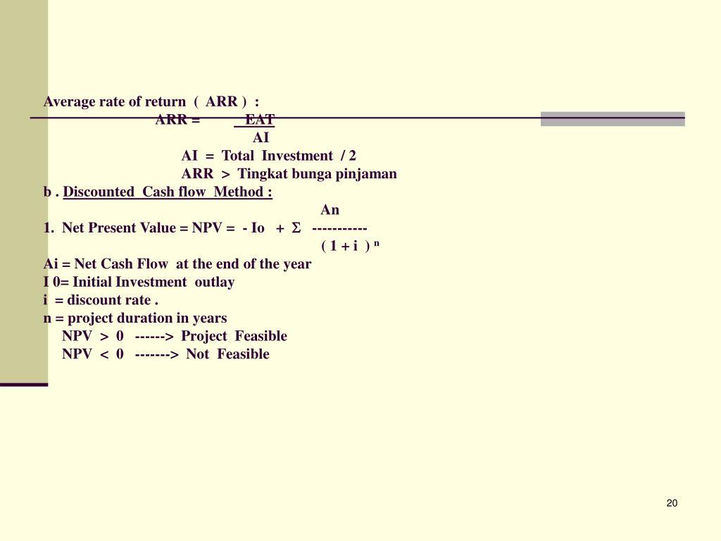 Average rate of return  (  ARR )  :