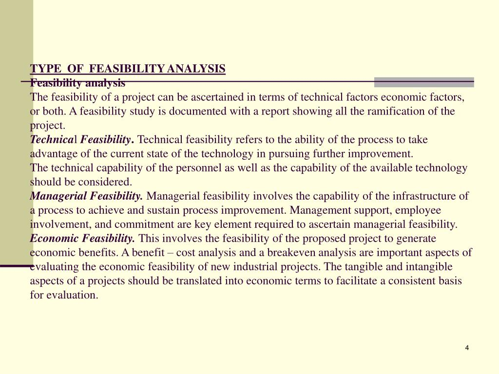 TYPE  OF  FEASIBILITY ANALYSIS