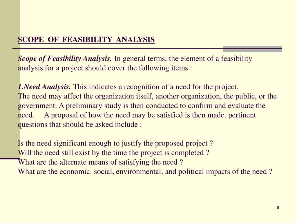SCOPE  OF  FEASIBILITY  ANALYSIS