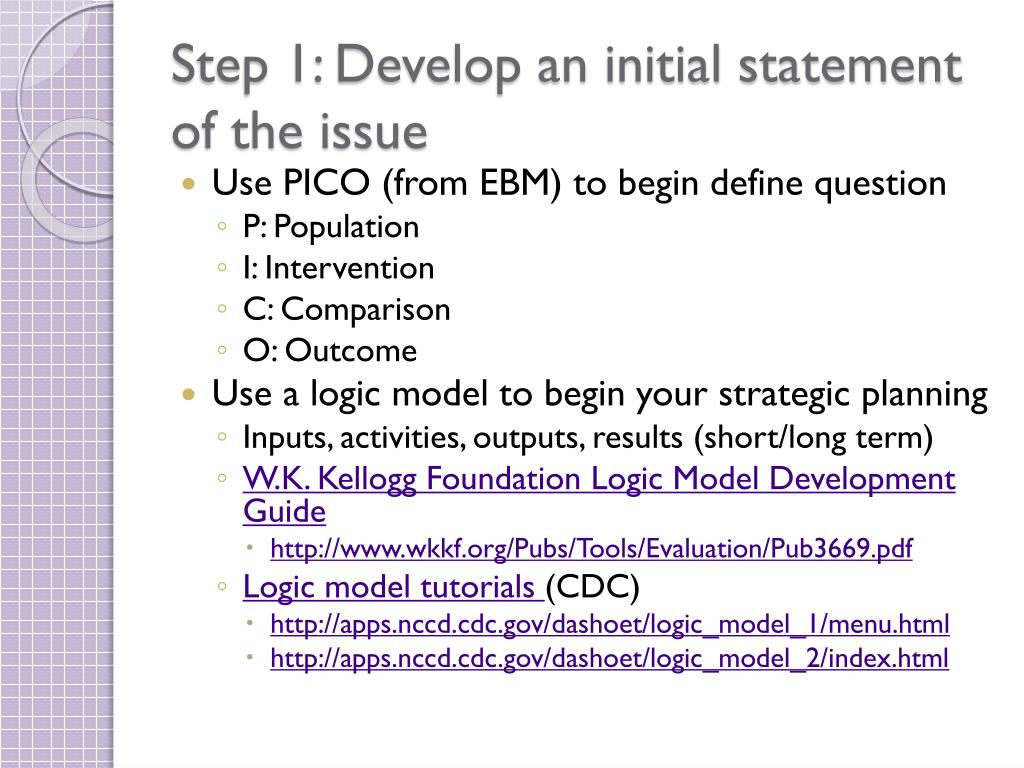 Step 1: Develop an initial statement of the issue