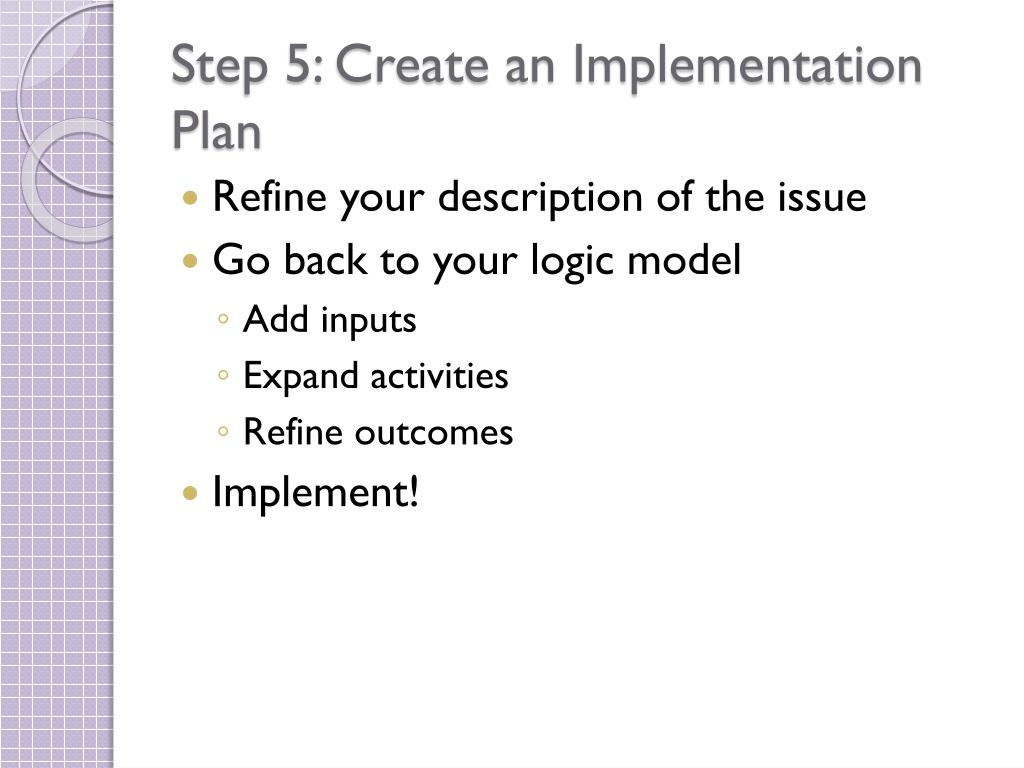 Step 5: Create an Implementation Plan