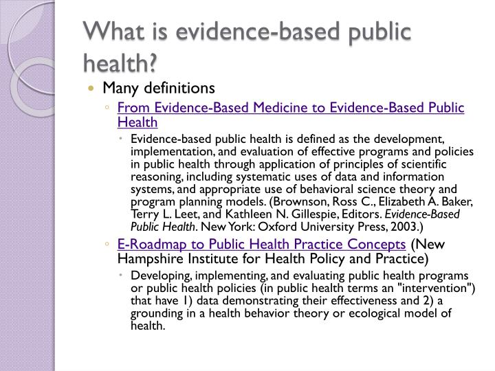 What is evidence based public health