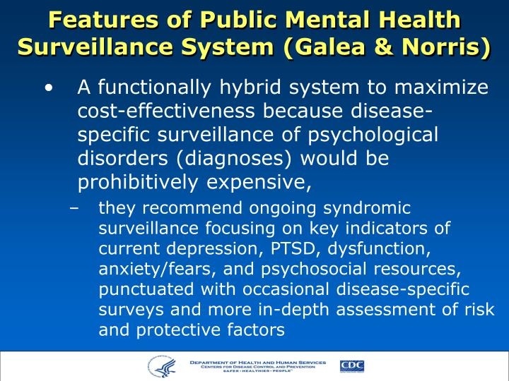 Features of public mental health surveillance system galea norris