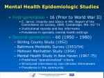 mental health epidemiologic studies